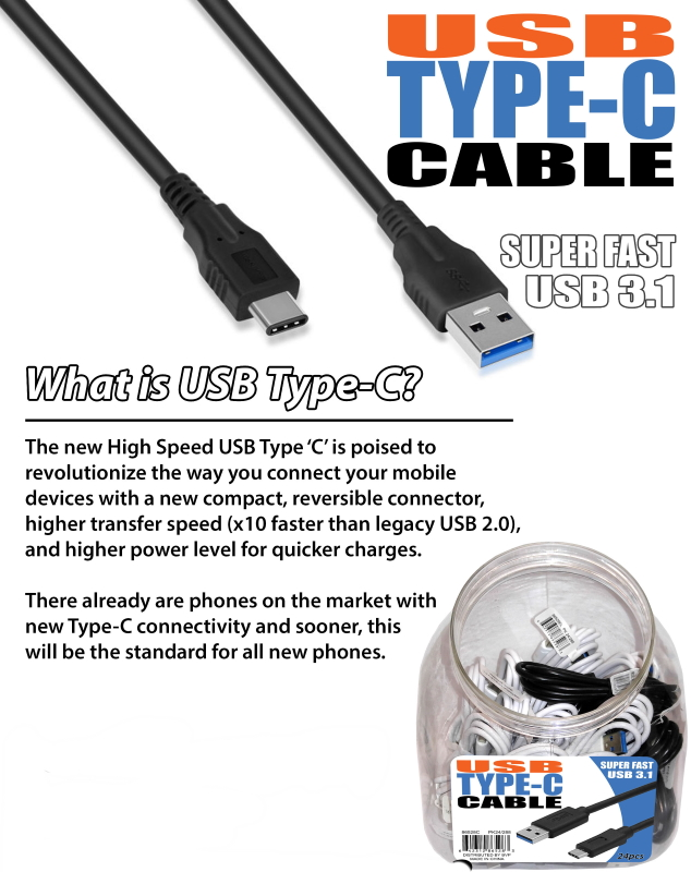Type-C High Speed Cable Tub w/ UPC